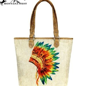 Native American Print Montana West Canvas Tote Bag